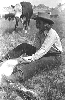 Cowgirl at Montana branding