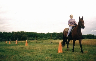 Practicing guiding a horse around traffic cones