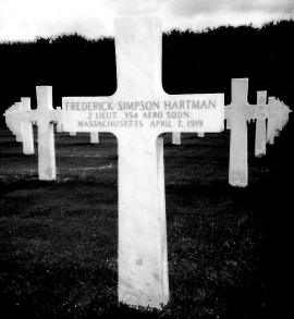 Fred Hartman's grave in France