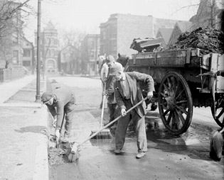 Prisoners from Bridewell Prison cleaning street