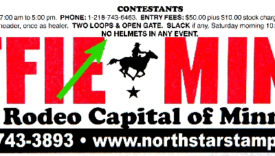 Rodeo poster notation: No Helmets in Any Event