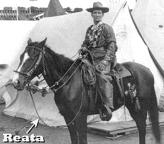 Calamity Jane with a reata tied to her saddle