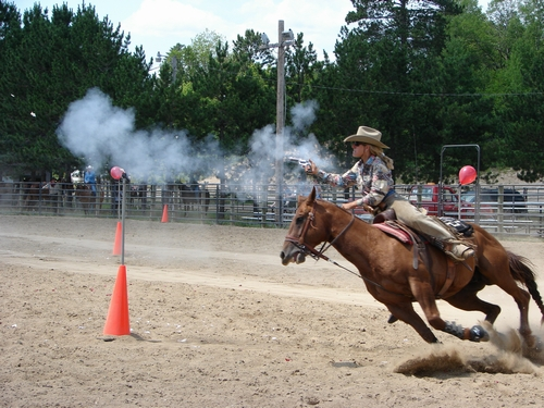 Cowboy Mounted Shooting contestant