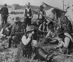 Cowboy dinner on the Yellowstone, 1905