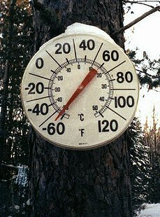Thermometer in Northern Minnesota reading 64 below zero F.
